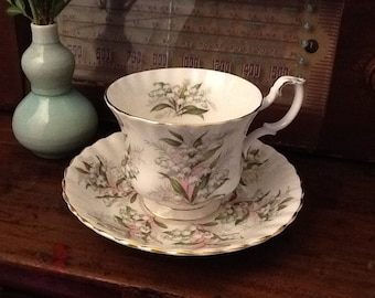 Vintage Royal Albert Teacup and Saucer  Bone China England Springtime Series Lily of the Valley