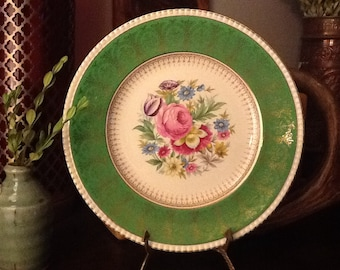 Antique Cabinet Plate by Simpsons Pottery, England, Ambassador Wear Green