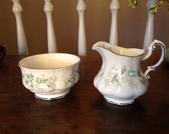 Vintage Paragon Creamer and Sugar Bowl in pattern of Debutante Bone China England
