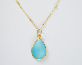 Blue Stone Necklace, Chalcedony Necklace, Teardrop pendant, 14kt Gold Filled, Sterling Silver, Blue Stone Necklace