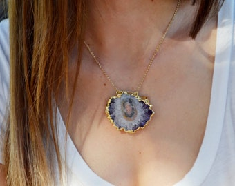 Large Gold Dipped Amethyst Stalactite Necklace, Amethyst Crystal Necklace, Amethyst Slice Pendant