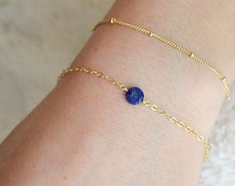 Lapis Lazuli Cubes Flower Bracelet Adjustable Gemstone Cubes Sterling Silver Bracelet September Stone Flower Charm Silver Bracelet Gift