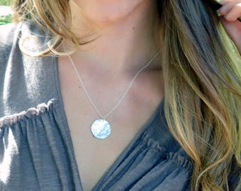 Silver Hammered Disc Necklace, Large Silver Disc Necklace, Sterling Silver, Big Silver Disc Pendant