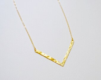 Thin Gold Large Hammered Chevron Necklace, Chevron Bar Necklace, Gold V Necklace, Chevron Pendant, Gold Bar Necklace