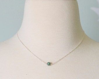 Small Green Jade Necklace - Sterling Silver or 14kt Gold Filled Jade Necklace - Small Jade Pendant - Crystal Healing - Green, Olive or White
