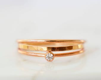 Set of Three Rose Gold Rings, 14kt Rose Gold Filled Stacking Rings, CZ Crystal Ring, Rose Gold Hammered Ring, Thin stackable Ring