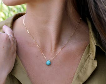Simple Natural Turquoise Necklace, Turquoise Drop Necklace, Dainty Necklace, Gold Turquoise Necklace, Small Gold Turquoise Necklace