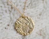 Gold Egyptian Scarab Coin Necklace, Scarab Pendant, Scarab Necklace, Beetle Pendant, Gold Egyptian Necklace