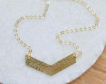 Hammered Gold Chevron Necklace, 14kt Gold Fill, V Necklace, Gold V Necklace, Gold Filled Everyday Necklace