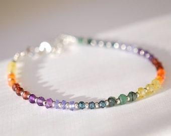 Chakra Bracelet - Rainbow Bracelet - Gemstone Rondelle Bracelet - Yoga - Emerald, Topaz, Garnet, Amethyst, Sapphire, Carnelian, Tanzanite