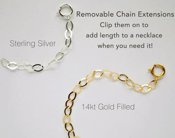 Add Length to Your Necklace, Easy Necklace Extension, Necklace Extender in Sterling Silver or 14kt Gold Filled