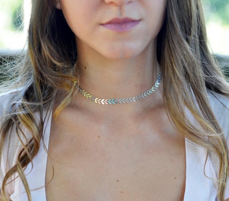 Chevron Chain Choker Silver Choker Necklace Silver or Gold Fishbone Choker Necklace Short Silver Choker Silver Chevron Choker