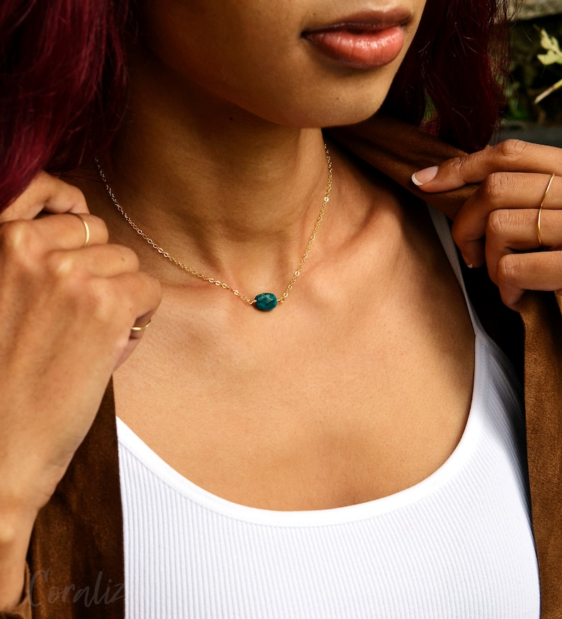 Green Blue Chrysocolla Pendant Small Gemstone Necklace 14kt Gold Filled or Sterling Silver Chrysocolla Necklace