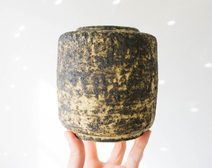 Mid Century Textured Travertine Studio Pottery Vase // Dutch Pottery // Pieter Groeneveldt