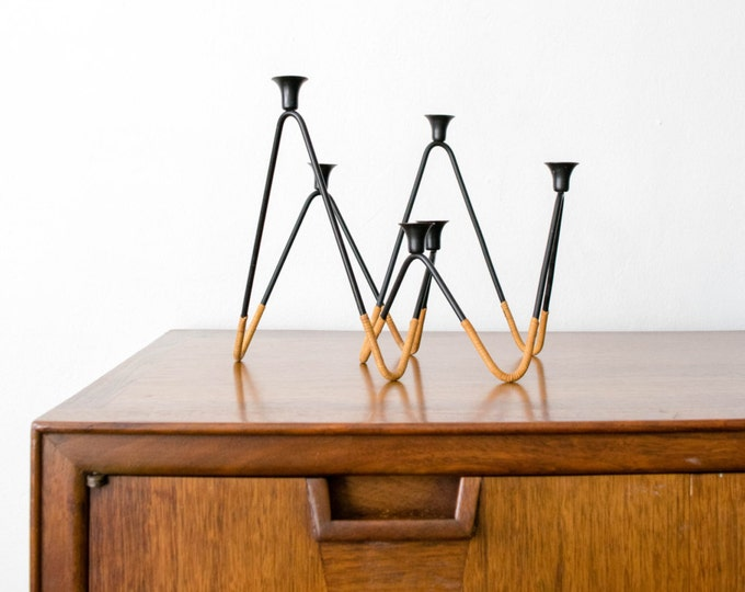 Laurids Lonborg Danish Modern Cane and Iron Candle Holder Set // Mid Century Hairpin Legs