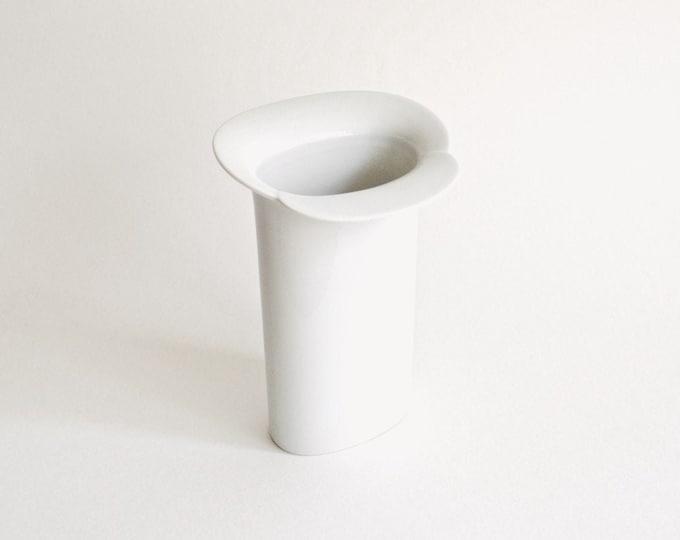 1970s Modernist Glazed White Porcelain Vase // Arzberg West Germany