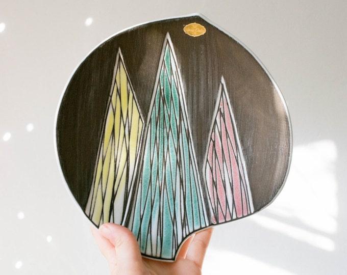 Vintage Geometric Pastel Studio Pottery Dish // Upsala Ekeby Sweden // Mid Century