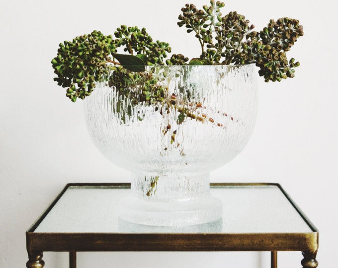 Vintage Iittala Finland Large Scale Footed Crystal Centerpiece Bowl