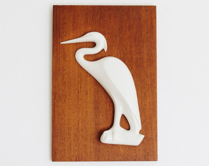 Ottenstreuer Teakwood and Porcelain Bird Sculptural Wall Art // Mid Century Modernist // Wuppertal-Elberfeld // 1950s Wall Decor