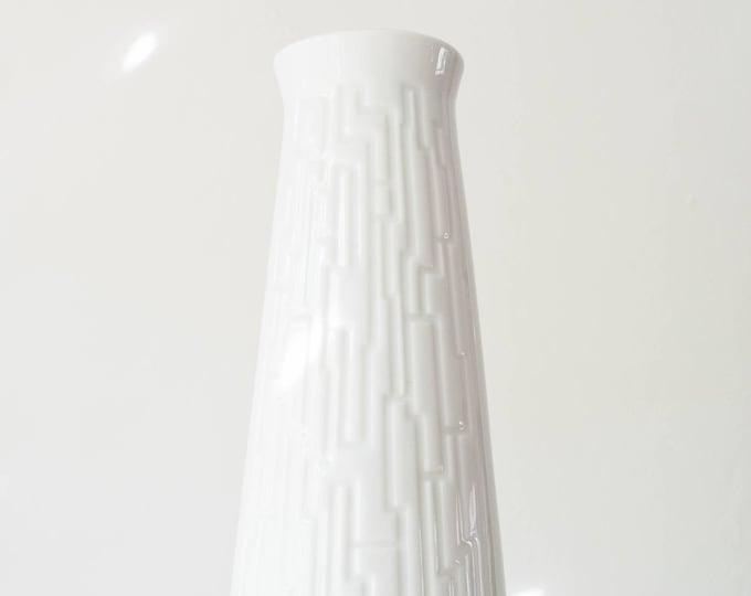 Mid Century Modern Glazed White Porcelain Geometric Vase // Bohemian Home Decor // Winterling Germany