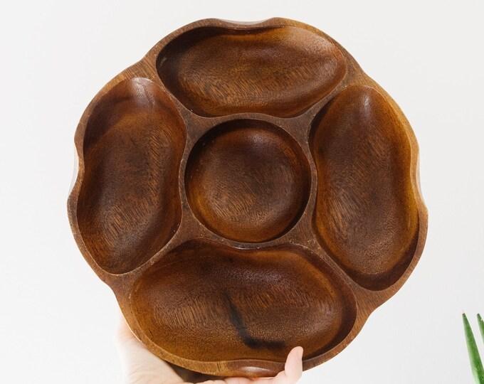 Large Danish Modern Divided Wood Bowl