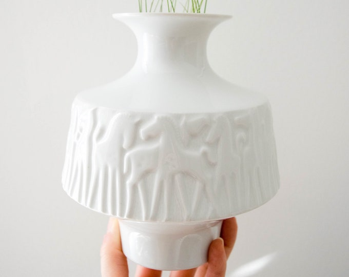 Vintage Glazed White Equestrian Porcelain Vase // Modern Farmhouse Horse // Mid Century Home Decor