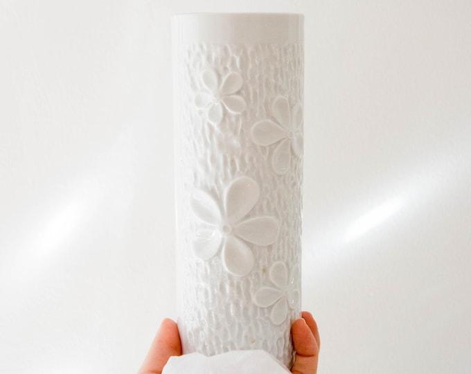 Mid Century Modern Glazed White Porcelain Botanical Vase // Bohemian Home Decor // Mitterteich Germany