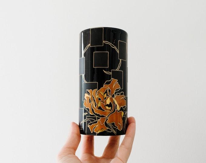 Tiny Modernist Glazed and Matte Black, Gold and Orange Porcelain Vase // Rosenthal West Germany // Mini Bud Vase