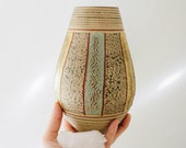 Vintage Mid Century Sage Green and Mustard Yellow Ceramic Vase, German Studio Art Pottery Brown