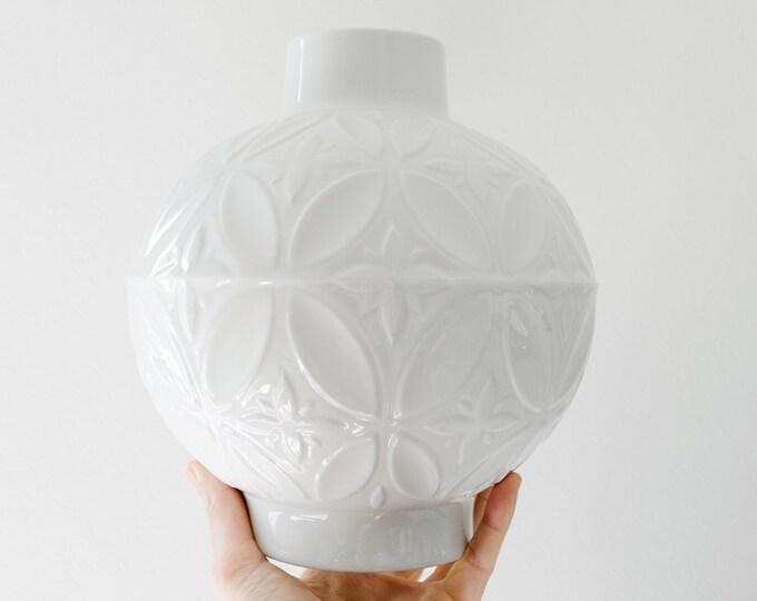 Large Scale Mid Century Glazed White Porcelain Vase // Schinding