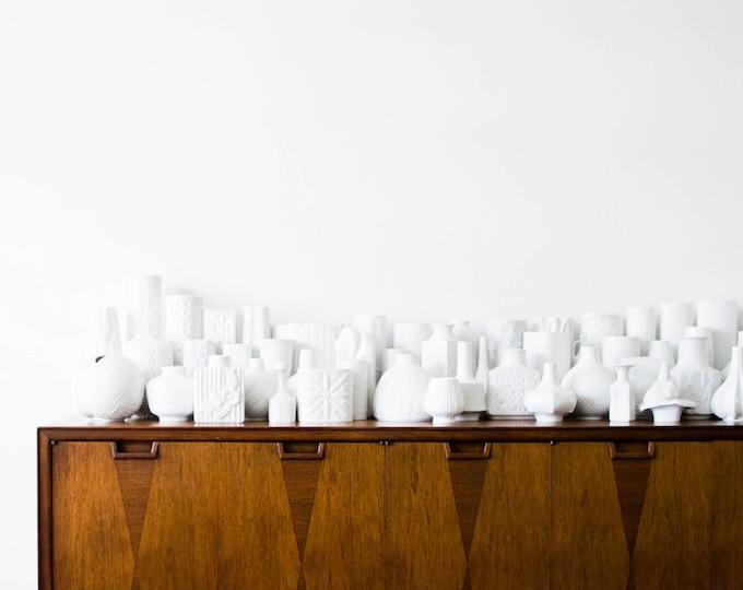 Mid Century Glazed White Porcelain Handled Pitcher Vase // Hutschenreuther West Germany