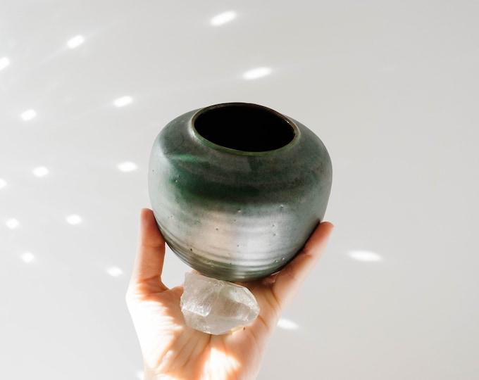 Mid Century Green Studio Pottery Vase // Handmade in Germany