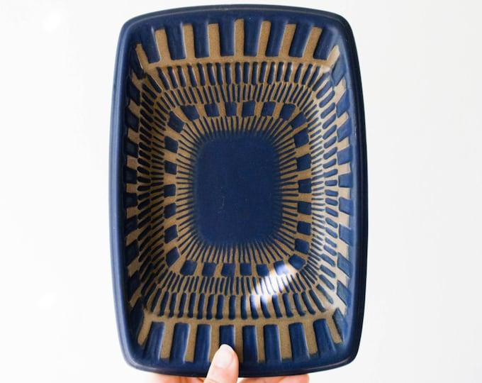 Scandinavian Modernist Indigo Studio Pottery Plate Set // Upsala Ekeby Sweden