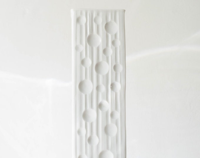Mid Century Glazed White Porcelain Moon Vase // Eschenbach West Germany // Celestial Home Decor