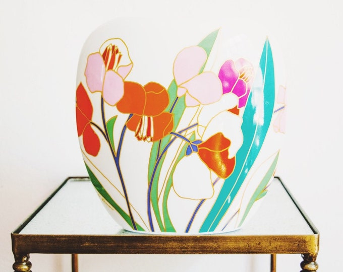 Vintage Large Scale Colorful Botanical Porcelain Art Vase // Wolfgang Bauer // Rosenthal Studio Linie West Germany