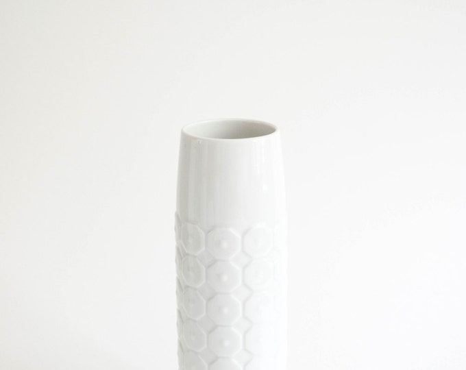 Mid Century Glazed White Porcelain Vase // Hutschenreuther West Germany