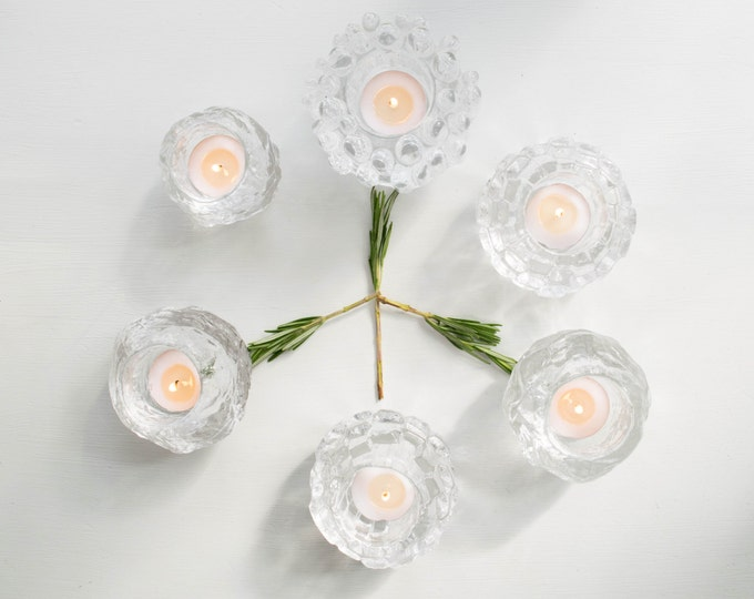 Kosta Boda Scandinavian Modernist Icy Glass Candle Holder // Goran Warff Sweden