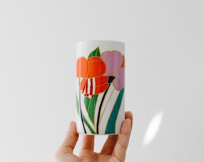 Vintage Colorful Botanical Porcelain Mini Art Vase // Wolfgang Bauer // Rosenthal Studio Linie West Germany