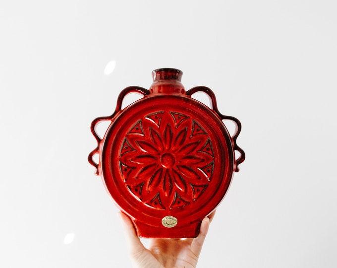 Mid Century Modern Glazed Red Vase // Siekera // German Studio Pottery