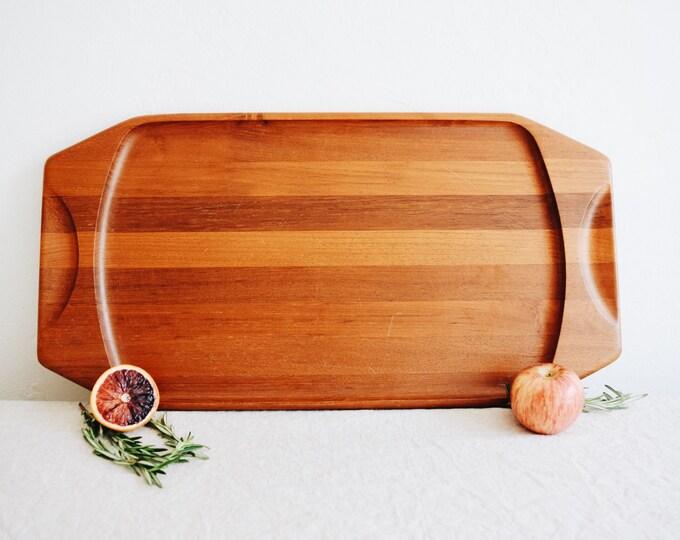 Vintage Danish Teak Cheese Tray // Kjeni Denmark // Wood Cocktail Party Tray // Vintage Bar Cart // Mid Century Kitchen