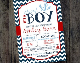 Boy Baby Shower Invitation - Navy and Red Baby Shower Invites - Baby Boy Shower - Nautical Baby Shower - Anchors and Boats