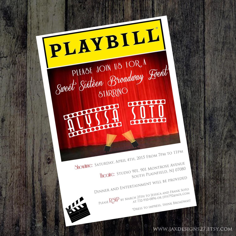 Playbill Invitations Broadway theme Bridal Shower Birthday | Etsy
