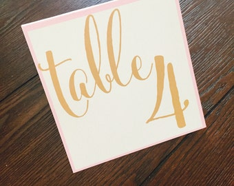 Wedding Table Numbers - Gold Wedding Table Numbers - Elegant Wedding Table Numbers - Reception Tables - Gold and Blush Wedding