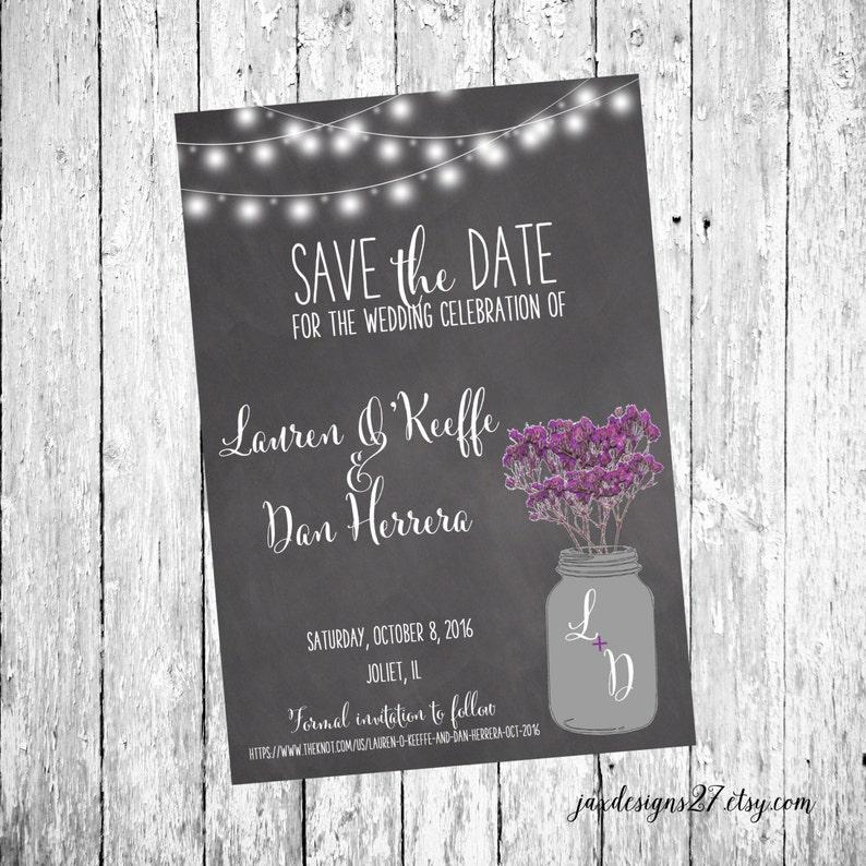 String Lights Purple Save the Date Chalkboard Wedding Digital Wedding Save the Date Cards