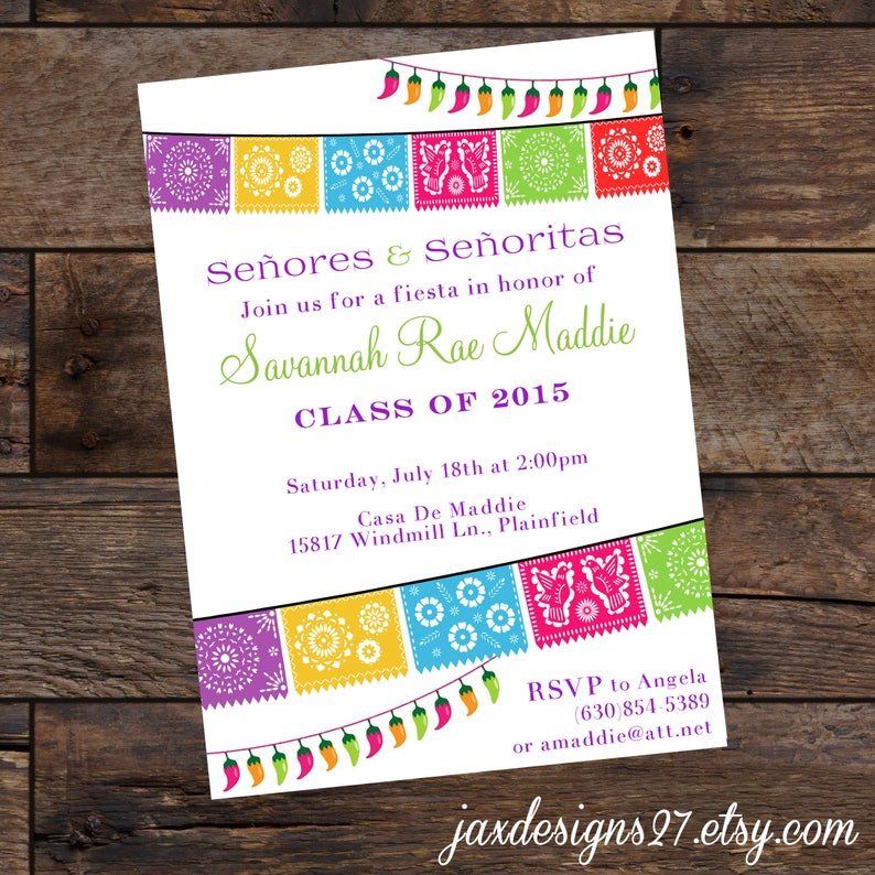 Digital Fiesta Party Invitations Graduation