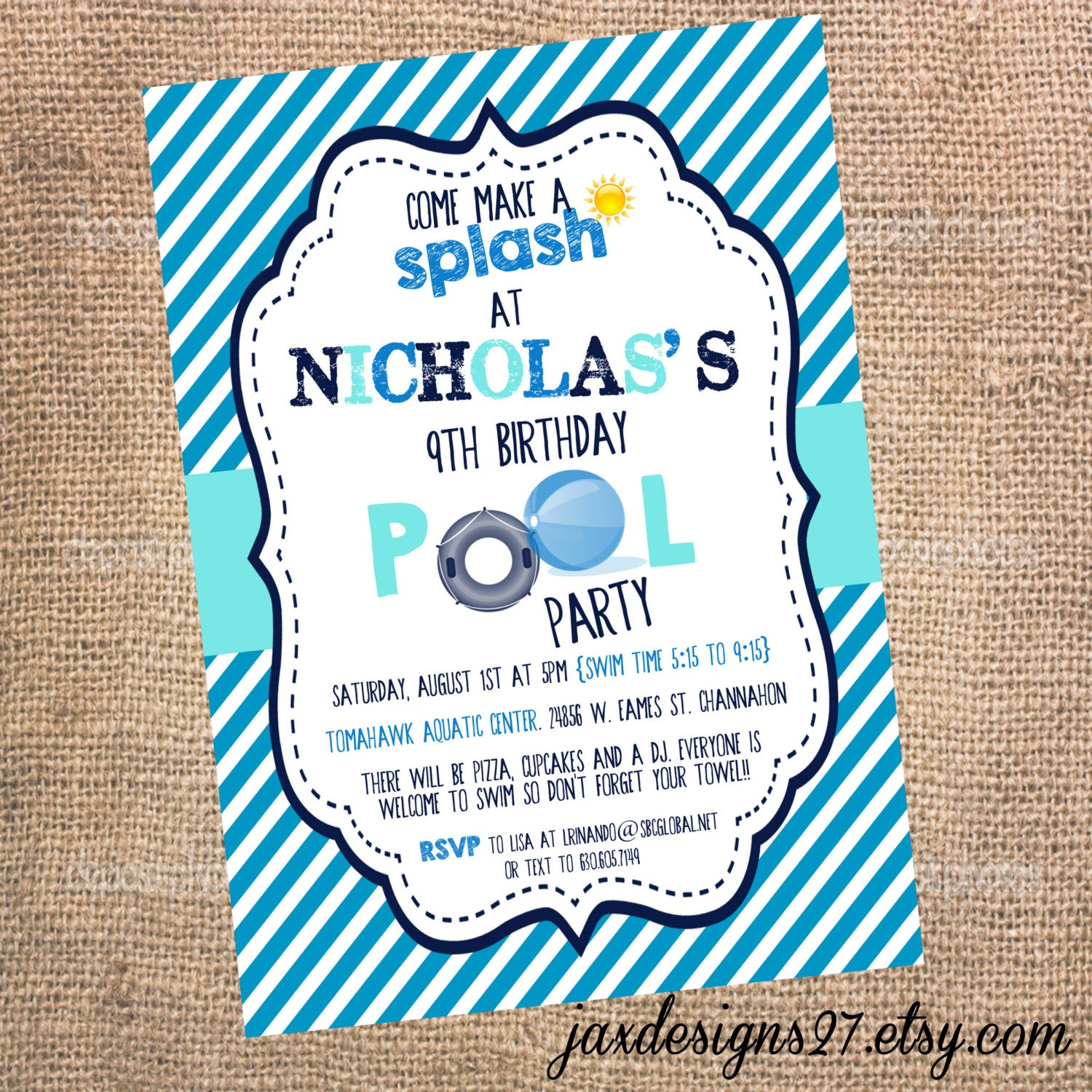 Kids Birthday Party Invitations Pool