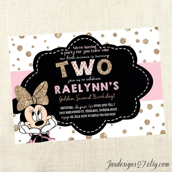 Pink and gold birthday party invitations minnie mouse etsy image 0 filmwisefo