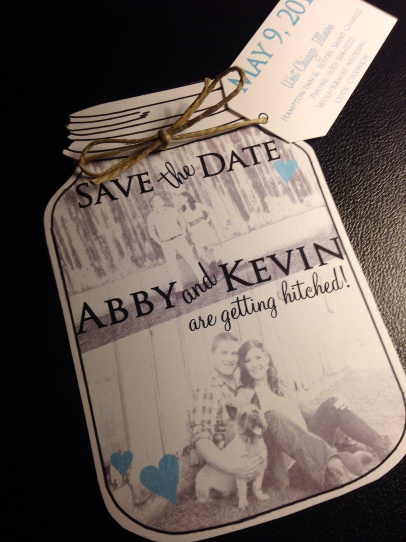 Mason Jar save the dates Weddings Country Wedding Wedding Save the Date Cards Save the Date