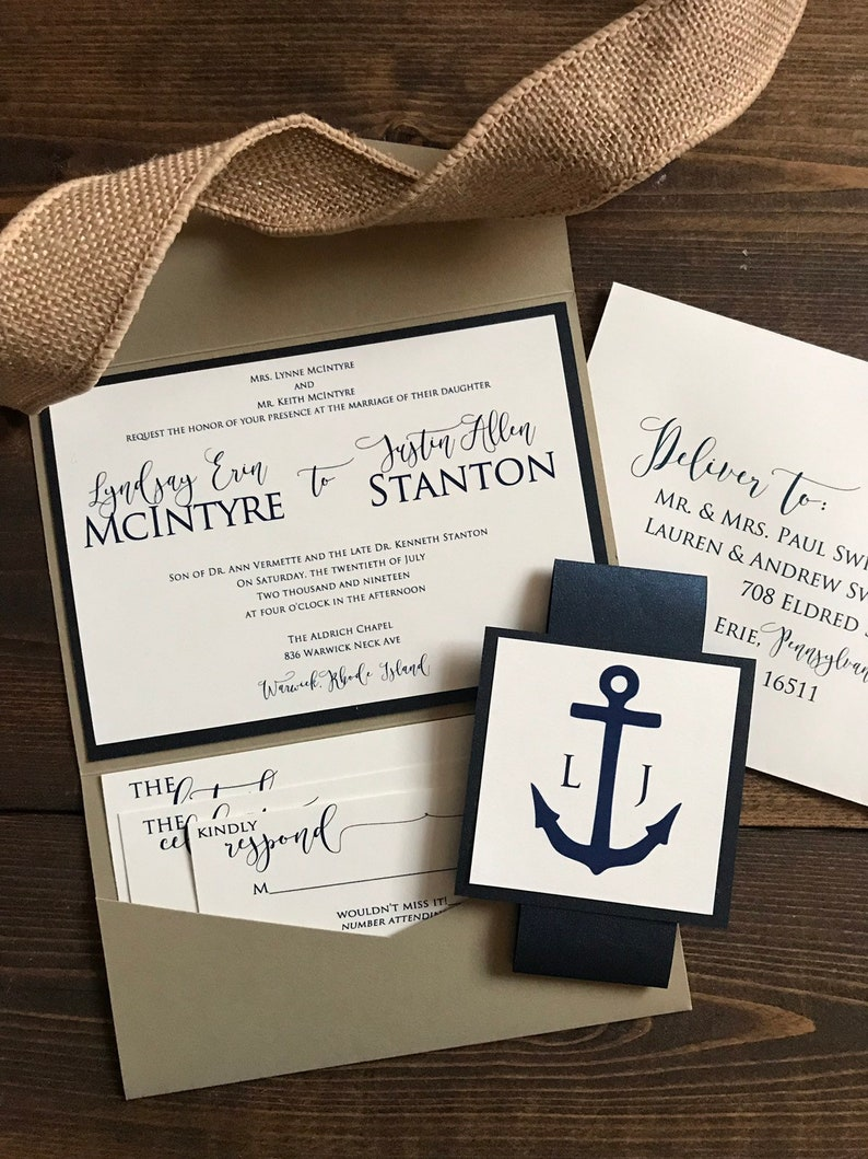 Image 0: Nautical Wedding Pocket Invitations At Reisefeber.org