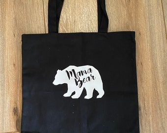 Details about  /Mama Bear Black Canvas Tote Bag Trendy Design Cute Gifts For Her